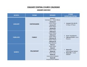 1  Calgary Central Church Calendar, January-June 2019